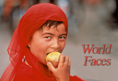 World Faces - Kashgar girl eating apple, Western China